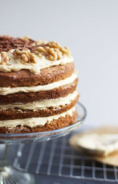 Coffee + walnut layer cake by Cider with Rosie.