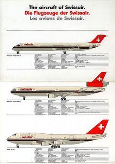 Swissair, The aircraft of Swissair/ Die Flugzeuge der Swissair/ Les avions de Swissair fleet Airline Logo, Airline Travel, Travel Brochure, Air Travel, Fürstentum Liechtenstein, Swiss Air, National Airlines, Boeing 747, Cargo Airlines