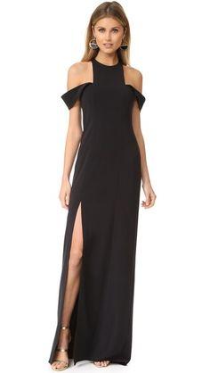Halston Heritage Вечернее платье с открытыми плечами и округлым вырезом