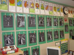 Great idea - use clothespins to display student art projects so it's easy to update.