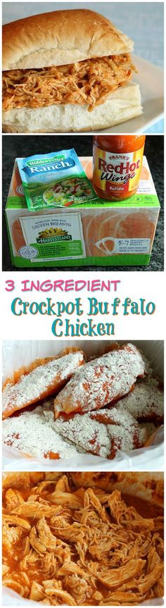 3 Ingredient Crockpot Buffalo Chicken / myfindsonline.com