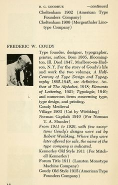 Meet Mr. Goudy, old style that is. Faces behind (type) faces.