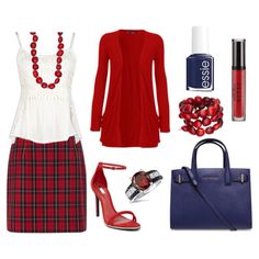 Red Plaid Skirt w/ Navy Accents