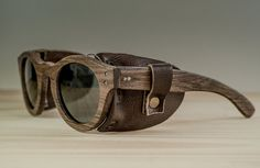 Wood sunglasses model Buenos Aires leather Handmade by NomadeStore