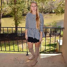 The face I make when trying to decide if I need a better blog pic or if I should just be satisfied with this one and go eat dinner?  #hungry #hangry #blog #blogger #style #mystyle #outside #athens #black #white #gingham #vbxtarget #kneehigh #boots #trendy #blonde #southern #