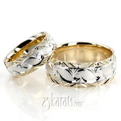 Bestseller Fine Grooved Fancy Designer Wedding Ring Set