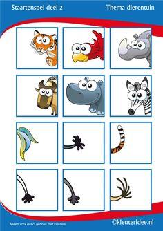 tail game for preschool, free printable. Montessori Activities, Infant Activities, Activities For Kids, Teaching Kids, Kids Learning, Halloween Makeup Kits, Dear Zoo, Animal Tails, Jungle Theme