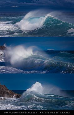 Rough sea triptych 2 seascape with huge wave. Prints available at http://giovanni-allievi.artistwebsites.com/art/all/seascapes/all