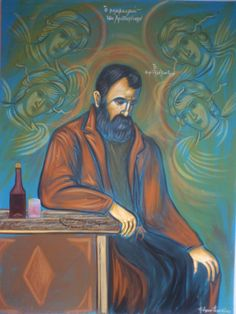 The Greek writer, Alexandros Papadiamantes. This painting is entitled 'The Reverie of Christmas'. Literature, Writer, Princess Zelda, Greeks, Painting, Masters, Fictional Characters, Christmas Ideas, Poetry