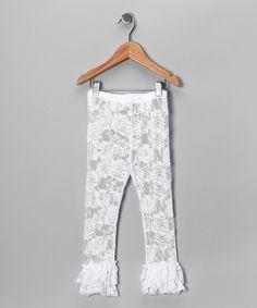 White Ruffle Lace Leggings - Infant, Toddler & Girls