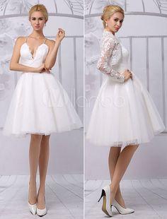 Chic robe mariage A-ligne ivoire dentelle col V longueur genou