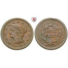 USA, Cent 1856, ss: Kupfer-Cent 1856. Braided Hair. KM 67; sehr schön 25,00€ #coins