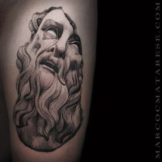 Poseidon linework etching tattoo Marco C. Chicanas Tattoo, God Tattoos, Time Tattoos, Piercing Tattoo, Sleeve Tattoos, Historical Tattoos, Etching Tattoo, Statue Tattoo, Tattoo Portfolio