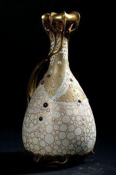 Klimt Series by Amphora  Bohemia, circa 1904  10 3/4″ high  ( Sloans & Kenyon )