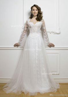 2014 Square Long Sleeve Lace Wedding Dresses Backless Sweep Triain Bien Savvy Custom Madde Dress for Bridal D1218-32