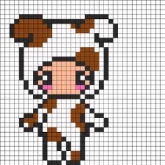 Cute Person In Dog Costume Perler Bead Pattern / Bead Sprite Perler Bead Templates, Diy Perler Beads, Perler Bead Art, Fuse Bead Patterns, Perler Patterns, Beading Patterns, Pixel Beads, Fuse Beads, Kawaii Cross Stitch