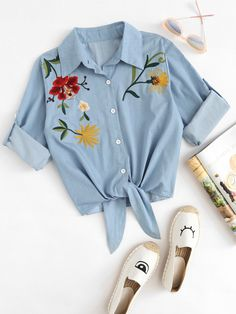 Shop Embroidered Roll Up Sleeve Self Tie Denim Shirt online. SheIn offers Embroidered Roll Up Sleeve Self Tie Denim Shirt & more to fit your fashionable needs. Crop Top Outfits, Cute Casual Outfits, Girly Outfits, Stylish Outfits, Girls Fashion Clothes, Teen Fashion Outfits, Outfits For Teens, Embroidered Denim Shirt, Embroidered Tops