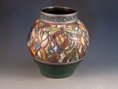 High Quality Vase With Mosaic Design Dragonflies by potmaker