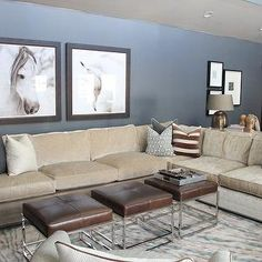 Alice Lane Home - living rooms - blue walls, leather stools, brown leather stools, dark gray velvet pillows, beige sectional, beige sectiona...