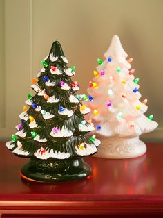 Ceramic Christmas tree with colorful plastic bulbs stands approximately 13 inches tall. This ceramic Christmas tree includes bulb inside. Ceramic Christmas Trees, Christmas Past, Vintage Christmas Ornaments, Retro Christmas, Christmas Holidays, Christmas Crafts, Christmas Ideas, Happy Holidays, Xmas Trees