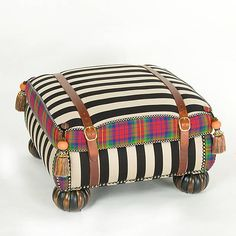 Courtly Campaign Ottoman black and white go with.anything that had color.