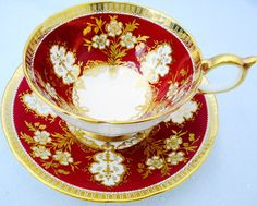 Aynsley Athens Exquisite Crimson Red Gold Gilt Glitter Teacup and Saucer Set