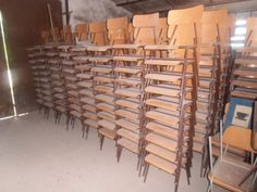 Old stapeble school chairs +- 200 on stock 15 euro a piece much more models on stock