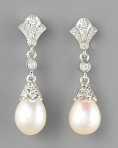 Diamond & Pearl Drop Earrings - Neiman Marcus // Perfect for a wedding day!
