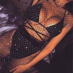 Fantoye Sexy Crystal Diamond Dress Women Hollow Out Rhinestone Bodycon Dress Summer Fishnet Mesh Beach Wear 2019 Party Vestidos - Rave Outfits, Edgy Outfits, Fashion Outfits, Dress Fashion, Fashion Clothes, Fishnet Dress, Mesh Dress, Slit Dress, Bodycon Dress