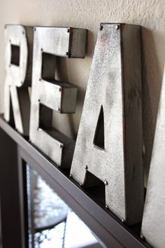 DIY Furniture Store KnockOffs - Do It Yourself Furniture Projects Inspired by Pottery Barn, Restoration Hardware, West Elm. Tutorials and Step by Step Instructions  |   Zinc Letters Anthropologie Inspired  |   http://diyjoy.com/diy-furniture-store-knockoffs