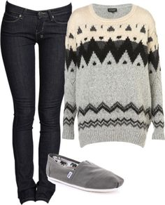 Toms and a comfy sweater. PERFECT.