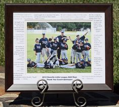Instructions on how to make this frame for coach - with quotes from all the kids on the mat board. So cute.