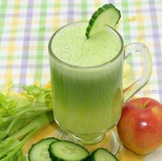 The Great Alkaline Juice Recipe. Great for an uneasy stomach! Also great source of chlorophyll, a phytochemical that can help build red blood cells. Ingredients: 1 cup of spinach, 1 cucumber, 2 stalks of celery including leaves, 1 apple.