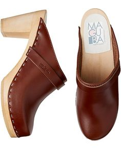 """Handcrafted Swedish modern clog slips on and off with ease and gives you the perfect amount of height. Comfy contoured base for extra support.   <br>• Handcrafted suede uppers <br>• Contoured alderwood base <br>• 3 ¾"""" heel <br>• Sweden<br><br>Fit Hint: Runs true to size. In between sizes, please size up."""