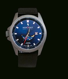 Hook & Gaff watches - Navy dial with textured black dive strap available at Rush Wilson Limited, Greenville, SC Man Room, Men's Fashion, Watches, Suits, Navy, Accessories, Black, Man's Bedroom, Moda Masculina