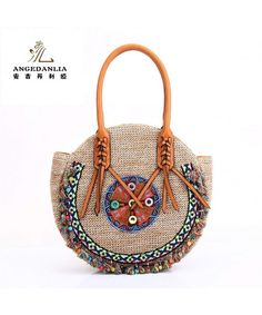 ef58e0bf4f55 Straw Bag Tote- Woman Round Handmade Purse Summer Beach Woven Shoulder Bag  4190 - Beige - C4182DT07O2. Handmade PursesSummer BagsDiy ...