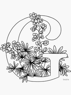 Floral Letters, Monogram Letters, Lettering Tutorial, Hand Lettering, Coloring Books, Coloring Pages, Colouring, Embroidery Designs, Embroidery Alphabet