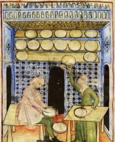 Making Cheese, 1390-1400, Tacuinum Sanitatis