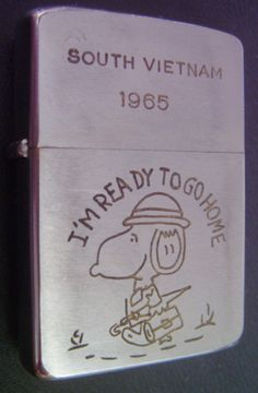 Old Vintage Cigar Cigarette Silver Case Lighter Vietnam War Zippo Snoopy  1960s 8596a7d86b8