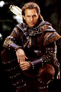 Kevin Costner as 'Robin Hood: Prince of Thieves' (1991). The time period is 12th century England.