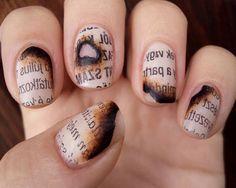 DIY burnt paper nails
