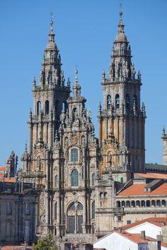 """Facade of """"O Obradoiro"""", cathedral of Santiago de Compostela, Santiago de Compostela, Galicia."""