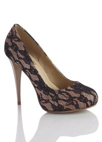 Lace over satin wrapped platform.
