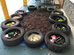 A huge collection of ideas and inspiration for reusing tyres in outdoor play creatively safely. Save money on outdoor play equipment by upcycling! Project safety tips included for early childhood educators and teachers. Outdoor Learning Spaces, Kids Outdoor Play, Outdoor Play Areas, Outdoor Education, Outdoor Playground, Outdoor Fun, Natural Playground, Playground Ideas, Indoor Play