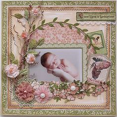 Once Upon a Springtime Newborn baby scrapbook page