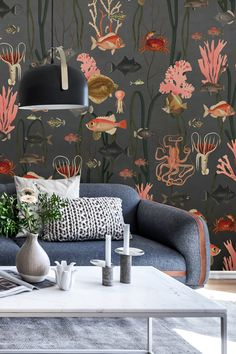 Ocean Wallpaper, Room Wallpaper, Wallpaper Ideas, Inspiration Boards, Coral Color, Beautiful Interiors, Wall Murals, Living Room, Wallpaper Murals