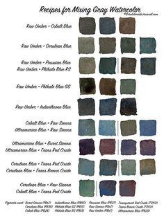 Gray watercolor mixing chart printable plus how to mix a go Watercolor Mixing, Watercolor Tips, Watercolour Tutorials, Watercolor Techniques, Watercolour Painting, Painting Techniques, Painting & Drawing, Watercolours, Painting Tips