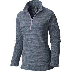 Mountain Hardwear Women's Snowpass Fleece Zip Tee ($65) ❤ liked on Polyvore featuring tops, t-shirts, heather zinc, fleece tops, heather t shirt, blue top, zipper top and zip t shirt