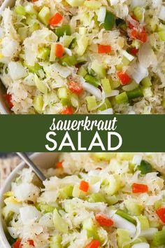 Sauerkraut Salad - Tangy and sweet! This delicious salad recipe has crisp veggies, sauerkraut tossed in a sweet dressing. This delicious salad recipe has crisp veggies, sauerkraut tossed in a sweet dressing. Best Salad Recipes, Healthy Recipes, Healthy Cooking, Cooking Recipes, Cooking Corn, Cooking Ribs, Healthy Food, Plat Simple, Sauerkraut Recipes