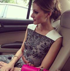 Olivia Palermo. Valentino leather shoulder dress